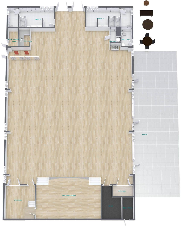 Auditorium 3D Floor Plan - Beach Park Event Center