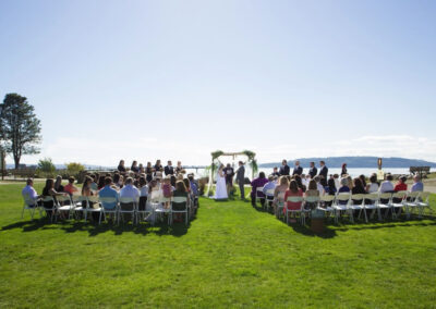 Stunning waterfront marriage ceremony on the Beach Park Meadow in Des Moines, WA.