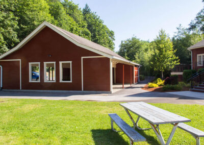 Our charming picnic shelter includes nine picnic tables.