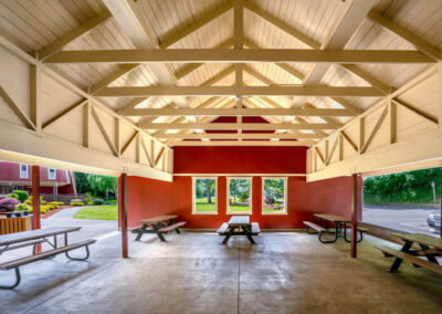Spacious, tidy, and well-lit, the picnic shelter is ready to welcome guests for your picnic or outdoor gathering. Photo credit Alan Alabastro.