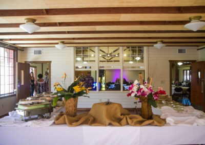 The Dining Hall's side room set up with a delicious buffet for the event in the main room.