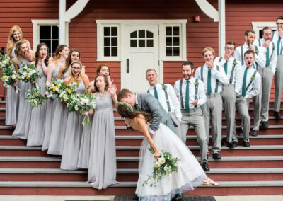The Dining Hall's entry stairs are a favorite for wedding party photos.
