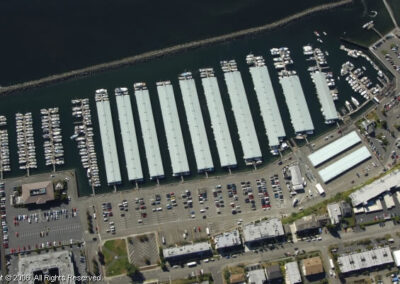 Aerial photo of the Des Moines Marina, parking lots, and South Marina Park.
