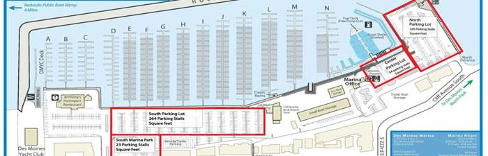 Map with north, central, and south parking lots and South Marina Park marked.