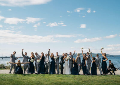 Woo Hoo! They are officially Mr. and Mrs! Wedding party in front of the Promontory.