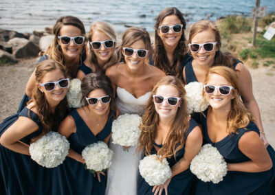 A beautiful bride and her beloved bridesmaids on the Promontory.