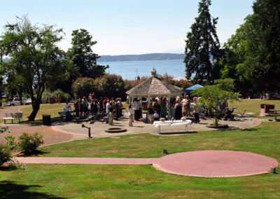Wedding at Wooten Park Gazebo. Note the gazebo was remodeled and is now blue. Photo credit Seattle Southside Regional Tourism Authority.